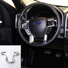цена на MAYITR Car Styling ABS Chrome Steering Wheel Cover Frame Trim Interior Moulding for Ford F150 2015 2016 2017