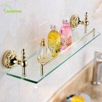 Classical European Solid Brass Bathroom Shelves Gold Bathroom Shelf Cosmetic Shelves Wall Mounted Set Single Layer