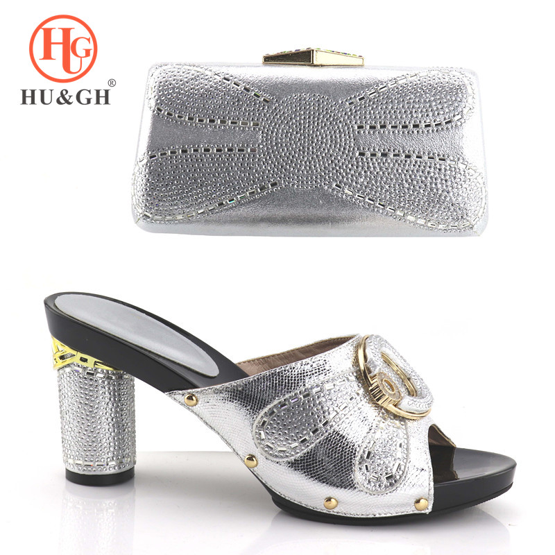 2018 New Hot Artist New Arrival Italian Shoes And Bags Sets Fashion African High Heels Shoe And Bag Set For Party Free Shipping