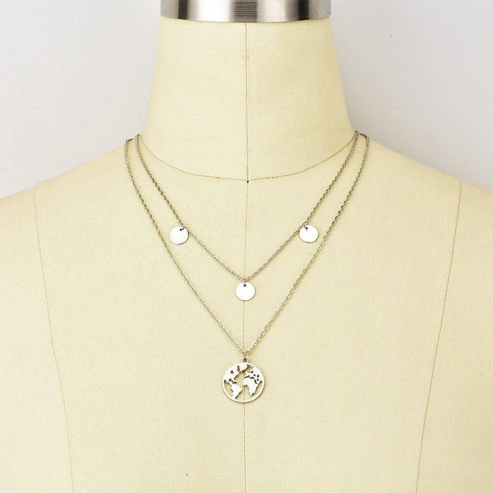 Boho Layered Earth Pendant Necklace 4