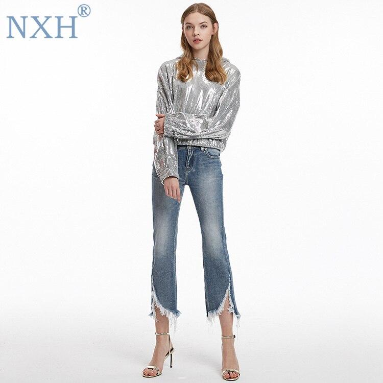NXH nouveau mode femmes Flare pantalon skinny jeans femme déchiré jeans pour femmes streetwear femmes sexy pantalon perles pantalon