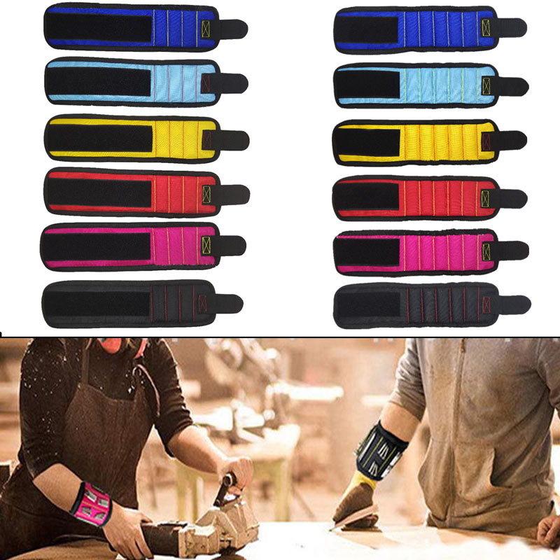 Magnetic Wristband With 3 Powerful Magnets For Holding Screws Nails Bolts Drill Bits Fasteners Scissors 1pcs Screw BagMagnetic Wristband With 3 Powerful Magnets For Holding Screws Nails Bolts Drill Bits Fasteners Scissors 1pcs Screw Bag