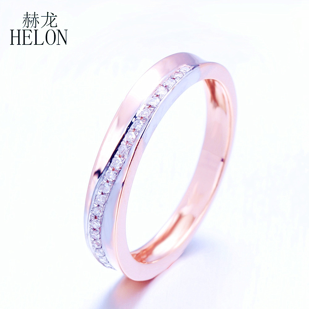 HELON Unbelievable!Pave Natural Diamond Ring Solid 10K Rose Gold Generous Band Anniversary Engagement Wedding Ring Women Jewelry helon diamond wedding ring band classic solid 10k rose gold engagement anniversary ring half eternity band for women s jewelry