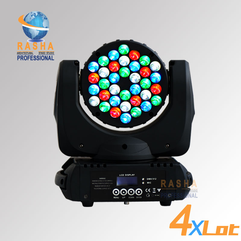 4X LOT Free Shipping 36*3W Cree 4in1 RGBW LED Moving Head Beam With LCD Display With 4in1 Road Case,LED Beam Light