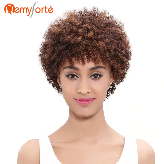 Remy Forte Short Curly Weave Human Hair Wigs For Black Women Brazilian Afro  Kinky Curly Bob 82f1f9685a