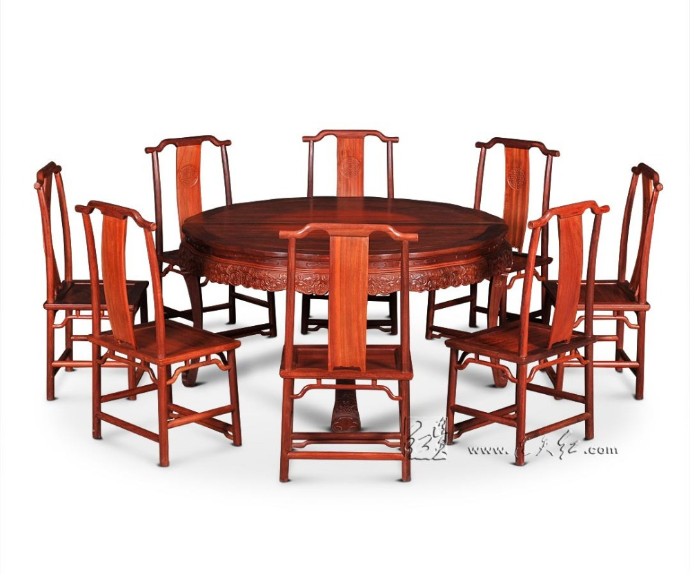Home Furniture Rosewood Round Dining Table Set Living Room Solid Wood Desk Annatto Armchair Redwood Backed Chair set New Fashion classical rosewood armchair backed china retro antique chair with handrails solid wood living dining room furniture factory set