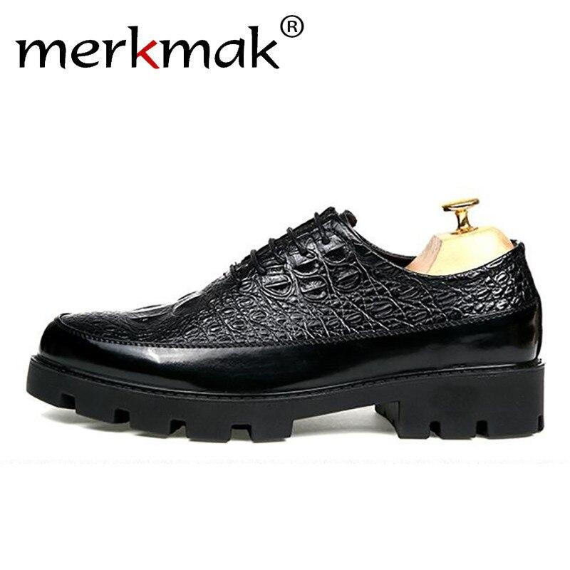 Merkmak Men Dress Leather Shoes Men Alligator Pattern Derby Shoe Wedding Party Men's Oxfords High Quality Italian Style Footwear