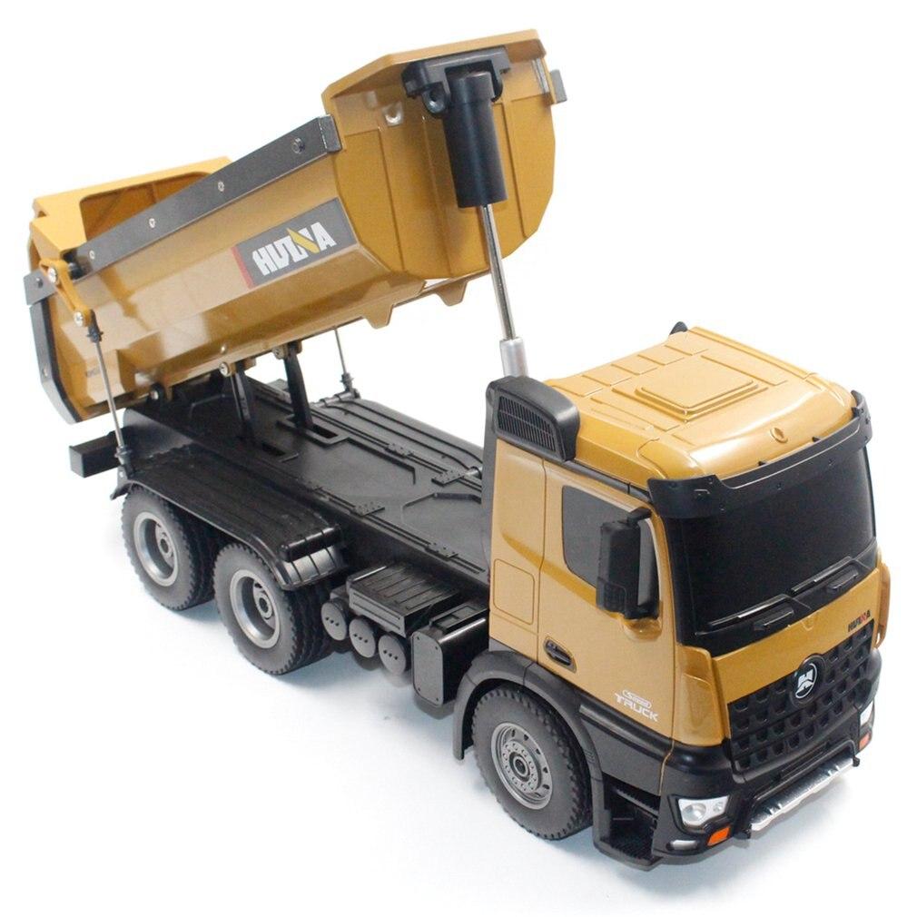 HUINA 1573 1/14 10CH alliage RC camions à benne basculante jouet ingénierie Construction télécommande voiture véhicule jouet RTR RC camion cadeau pour garçons