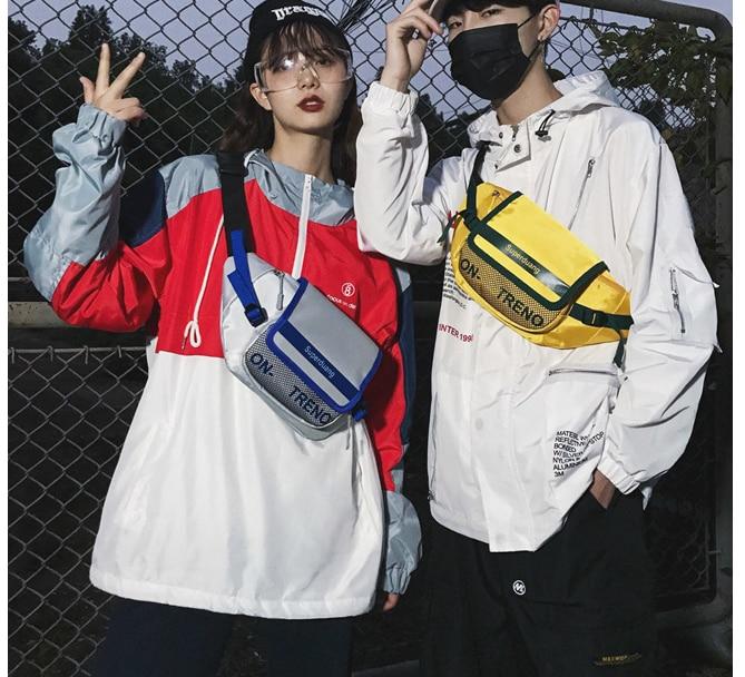 New Fashion Harajuku Streetwear Cloth Fanny Packs Unisex Couple Letter Waist Bag Women Men Shoulder Chest Bags Heuptas D226