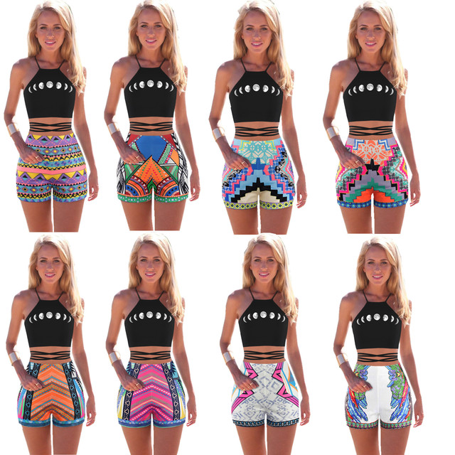 Womens Summer Beach Shorts Ethnic Style Surf Board Short Pants Ethnic POP  High Waisted Hot Pants Sexy Slim-fit Mini Gym Pants 85fd983691ca