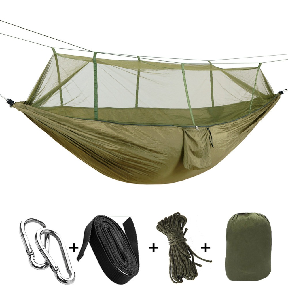 1-2 Person Outdoor Mosquito Net Parachute Hammock Camping Hanging Sleeping Bed Swing Portable  Double  Chair Hamac Army Green 2017 portable nylon garden outdoor camping travel furniture mesh hammock swing sleeping bed nylon hang mesh net