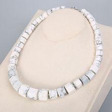 Natural Magnesite White Turquoise Diamond Big Necklace Bohemian Statement Women White Turquoise Stone Crystal Fine Jewelry stone