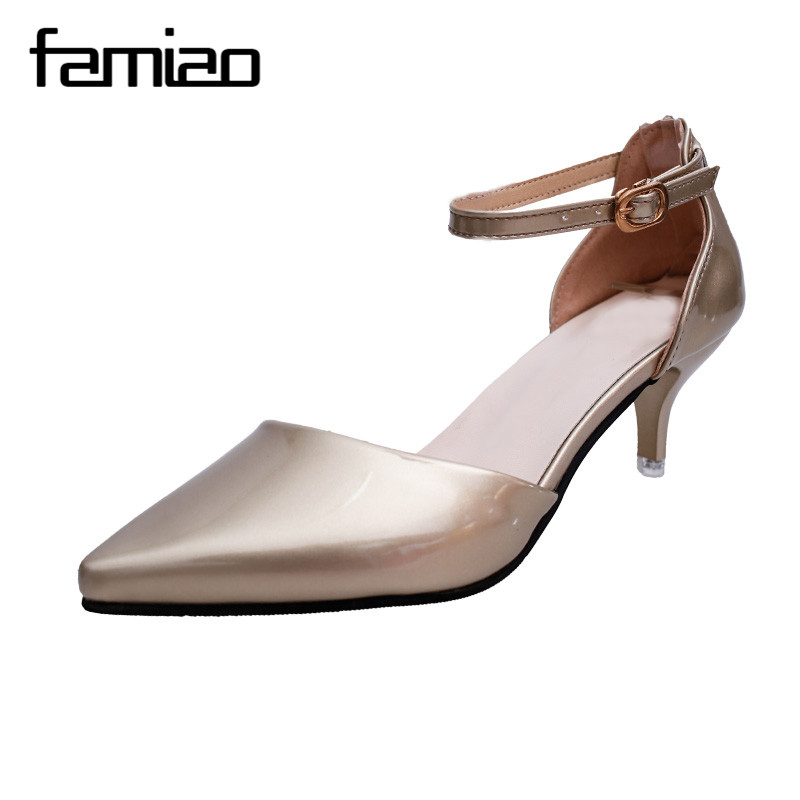 2017 Women spring ultra High Heels Shoes Elegant Thin High Heels Pointed Toe Patent leather Pumps woman Party Gold Silver Color lucyever fashion buckle crystals bling pumps women elegant thin high heels point toe party wedding shoes woman glod sliver black