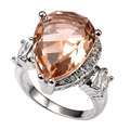Shiny Morganite With Multi White Simulated Sapphire 925 Sterling Silver Ring Factory price For Women Size 6 7 8 9 10 11 F1495