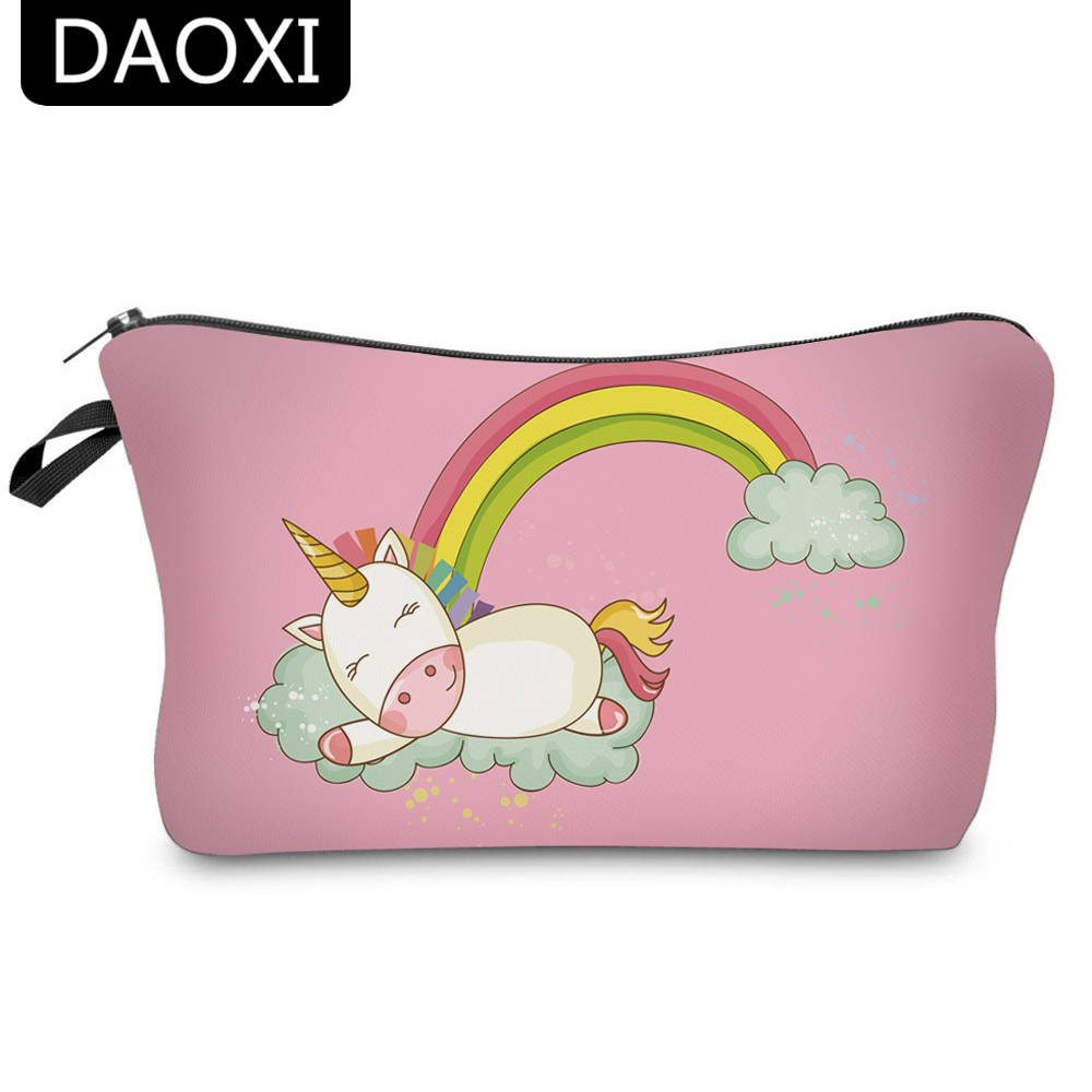 DAOXI 3D Printed Unicorn Cosmetic Bags With Zipper Pink Rainbow Cute Women Organizer Makeup Storage YY10057