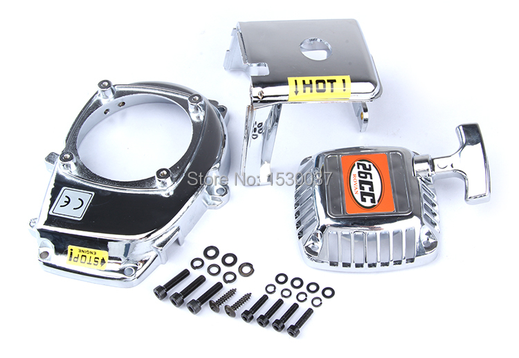 Engine Cover Set with Chrome plated (pull starter+cylinder cover+side cover+screws),free shipping