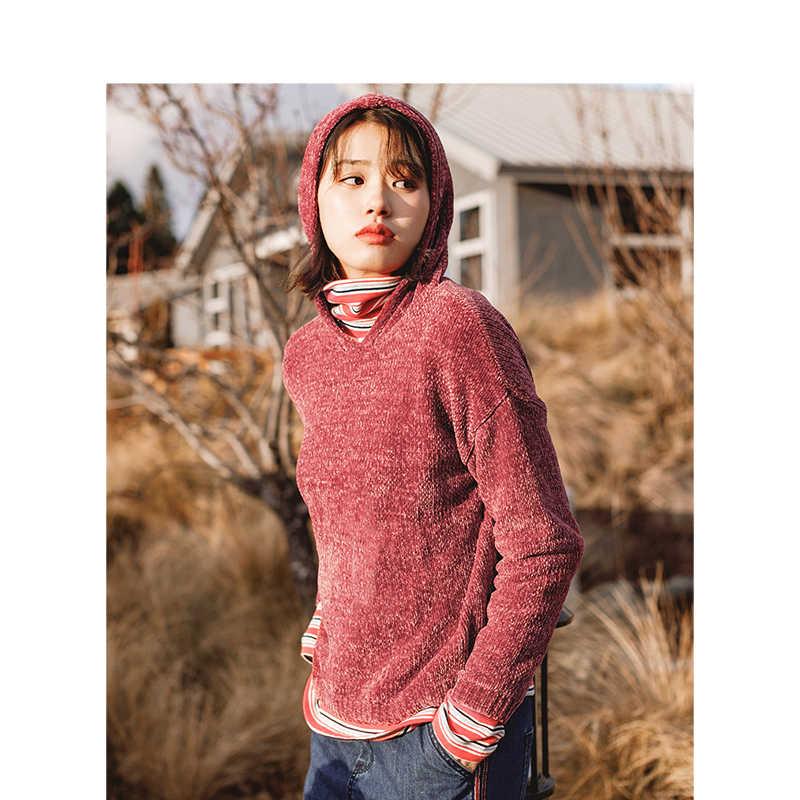 INMAN Зима Новое поступление женский с капюшоном Модный с открытыми плечами ленивый стиль женский пуловер свитер