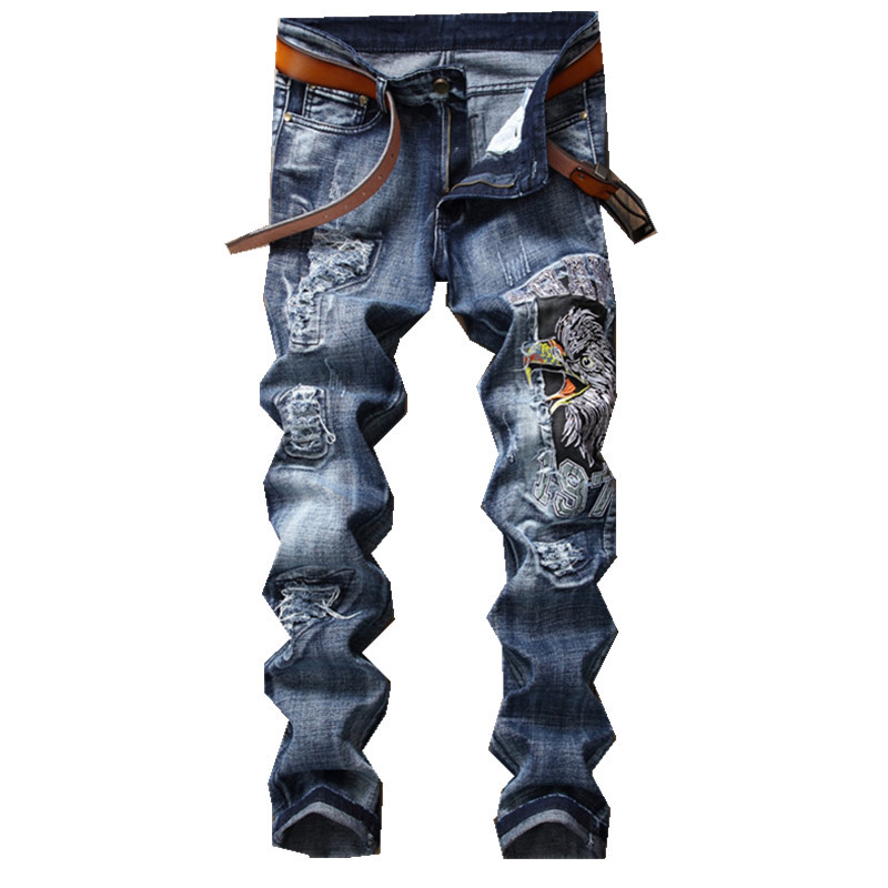 New Men Jeans Eagle Wing Biker Denim Pants Male Rap Casual Hole Ripped Punk Jeans Slim Fit Holes Straight Embroidered Pants men male blue ankle zipper biker motorcycle denim jeans slim straight ripped damged hole designer brand hiphop funky denim pants