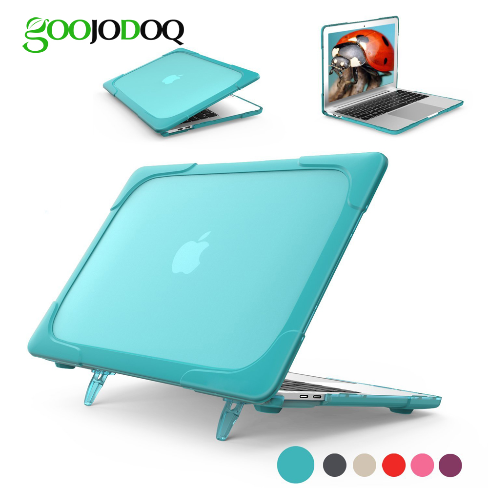 GOOJODOQ Laptop Case for MacBook Air 11 12 13 Pro 13 15 Retina 13.3 15.4 Case Shockproof Cover TPU + PC Bumper with Stand s what protective pc tpu bumper case for lg nexus 5 red black