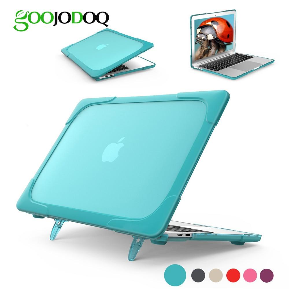 GOOJODOQ Laptop Fall für MacBook Air 11 12 13 Pro 13 15 Retina 13,3 15,4 Fall Stoßfest Abdeckung TPU + PC Stoßstange mit Stand