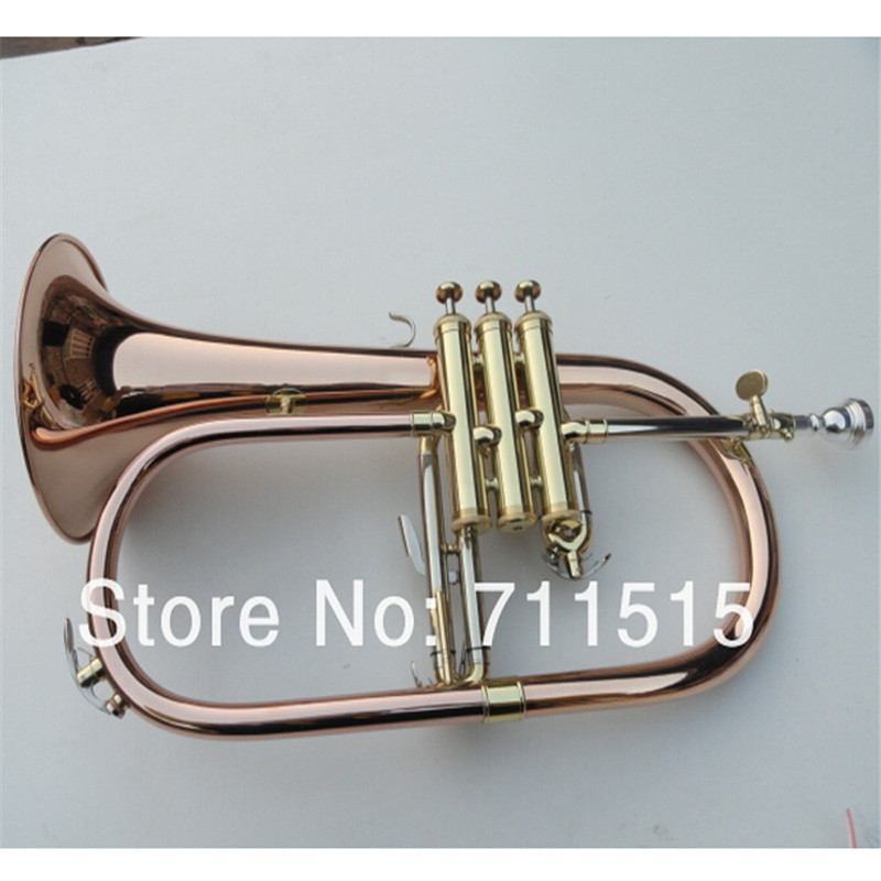 Factory Gold Lacquer Professional BB Trompeta Great Phosphor Copper Flugelhorn Alto Trumpet of Monel Valves Trumpete FH-200 professional silver gold plated marching french horn bb monel valves with case