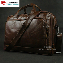 LEXEB Brand Full Grain Leather Men's Briefcase For 15.6 Laptop Business Travel Bag Large Capacity Office Bags For Men Brown