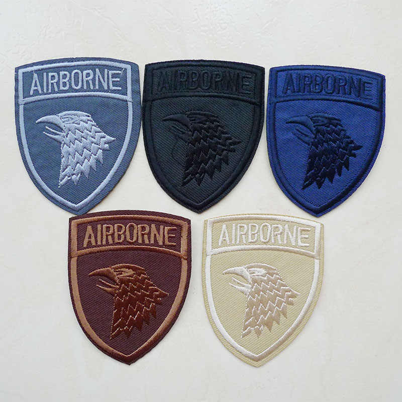 1 Pcs 3D AIRBORNE Embroidered Iron on Patches for Clothes Jacket Shoes Finger Appliques Badges Stripe Sticker Dress Accessories