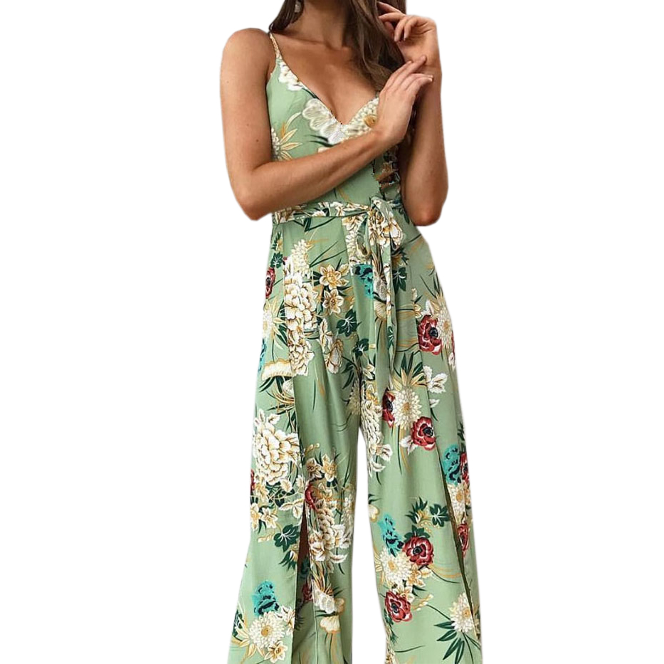 Summer Women Beach Boho Spaghetti Strap Overalls Femme Floral Printed Jumpsuits Wide Leg Pants Rompers Plus Size Jumpsuit GV383