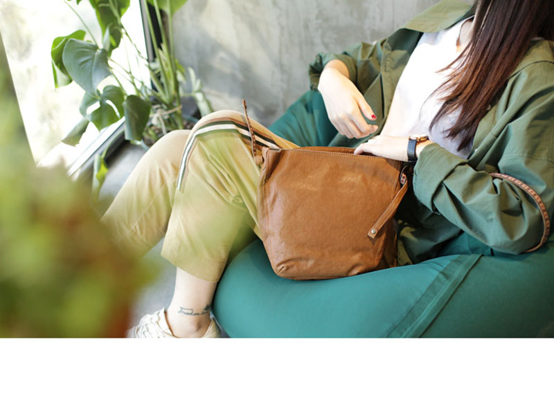 Women\'S Bag Korean Version Of The Wild Art Retro Soft Leather Shoulder Bag Bucket Small Bag Sheepskin Messenger Bag