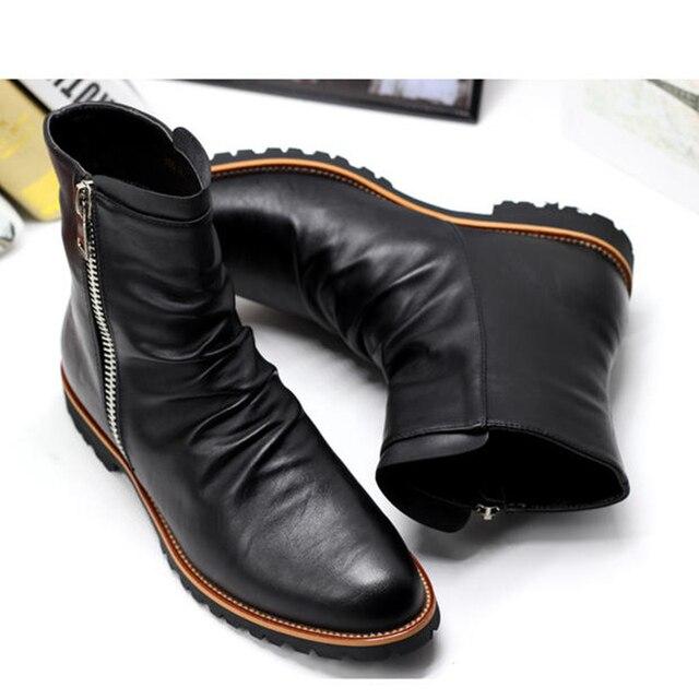 Размер США 6-11 Черный Кожаный Zip Острым Носом Вечерние Платья Мужские Военная Снег Ботинки Зимняя Обувь