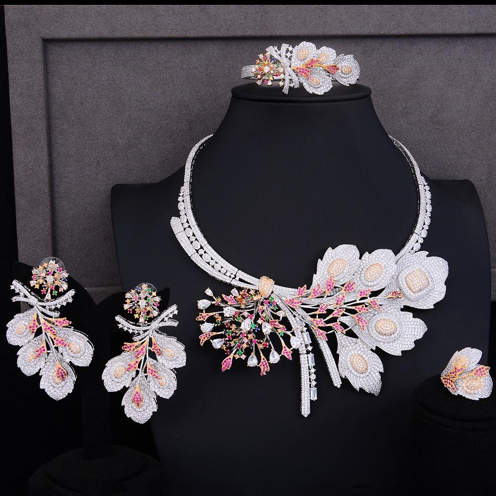 GODKI De Luxe Fleur Blossom Feuille 4 pcs Afrique Jwelry Ensembles Pour Les Femmes De Mariage De Zircon Cristal CZ Indien Bijoux De Mariée Africaine ensembles