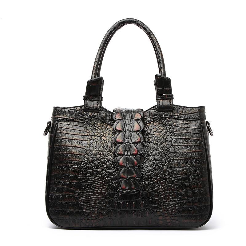 genuine Leather Vintage Crocodile handbags Alligator Pattern clutch lady Crossbody Messenger Bag purse retro sec a main tote bag crocodile pattern tote bag with purse