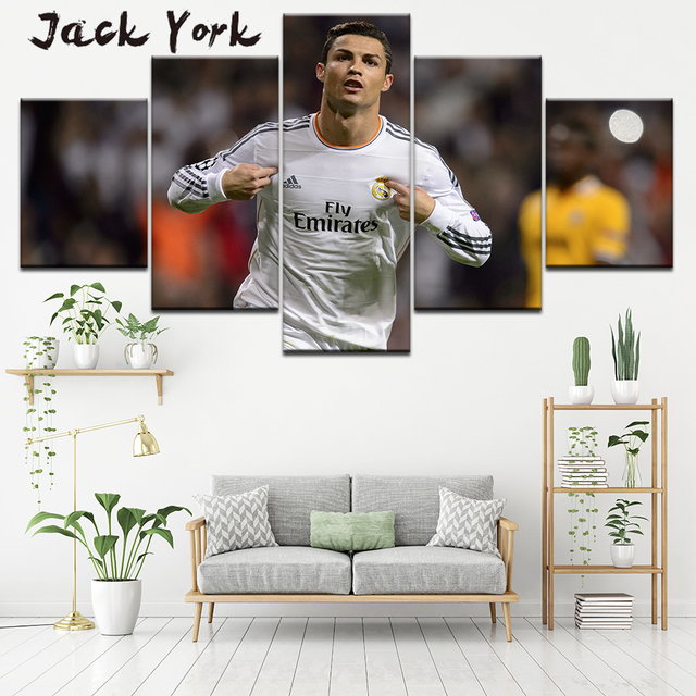 Canvas Painting Cristiano Ronaldo Hat Trick Memes 5 Pieces Wall Art