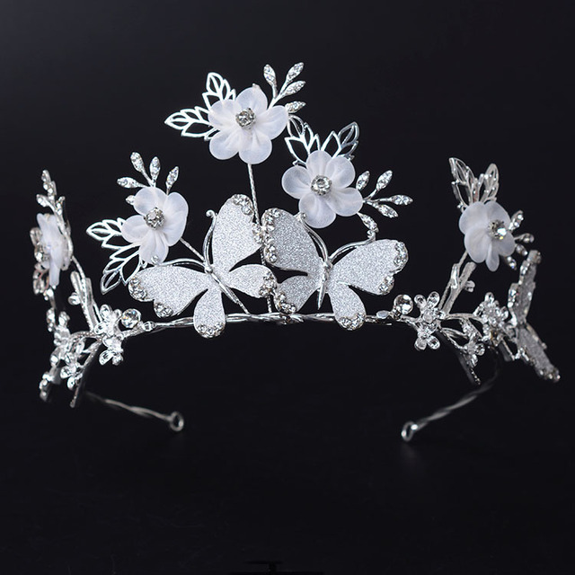 The New  Alloy Handmade Butterfly Big European Bride Wedding Crown Austrian Crystal Large Queen Crown Wedding Hair Accessories