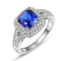 Newshe 3ct مشع قص الأزرق تشيكوسلوفاكيا بيور 925 فضة هالو خاتم الزفاف الأزياء والمجوهرات للنساء