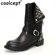 CooLcept/ботинки из натуральной кожи с заклепками квадратный каблук осень-зима Ботильоны пикантные Martin зимние ботинки на меху Обувь Женская обувь, размеры 34–39