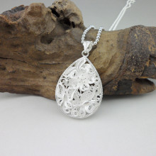 купить Water Drop 999 Sterling Silver Pendant Necklace Women Accessories Butterfly Flower Necklaces Pendants Handmade Luxury Jewelry в интернет-магазине