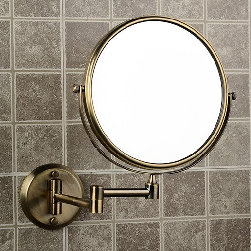 8 Double Side Bathroom Folding Brass Shave Makeup Mirror Antique bronze Wall Mounted Extend with Dual Arm 1x3x Magnifying