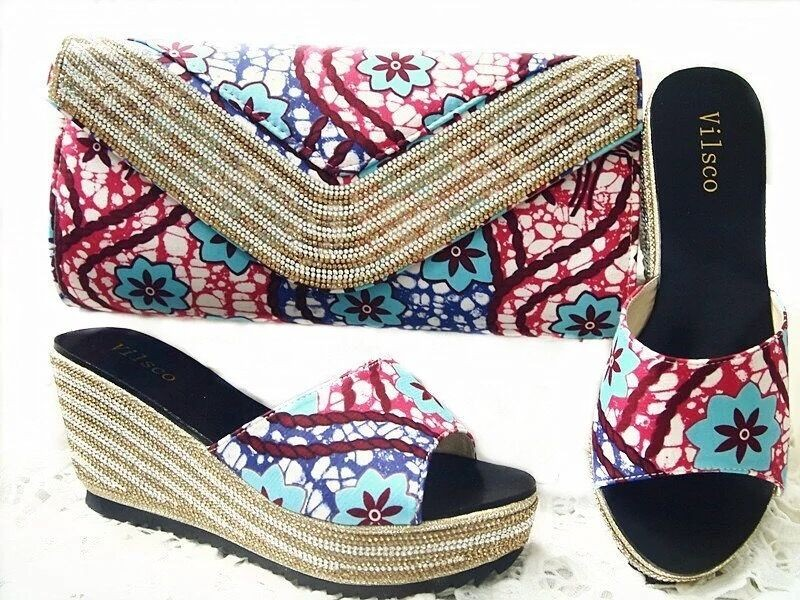 2017 Wedding Shoes and Bag High Heels Summer African Style Shoes and Bag Set Italy Shoe