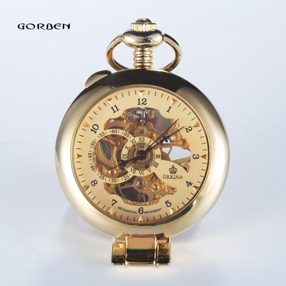 Nieuwe merk luxe glad steampunk gouden mechanische half jager mode - Zakhorloge - Foto 5
