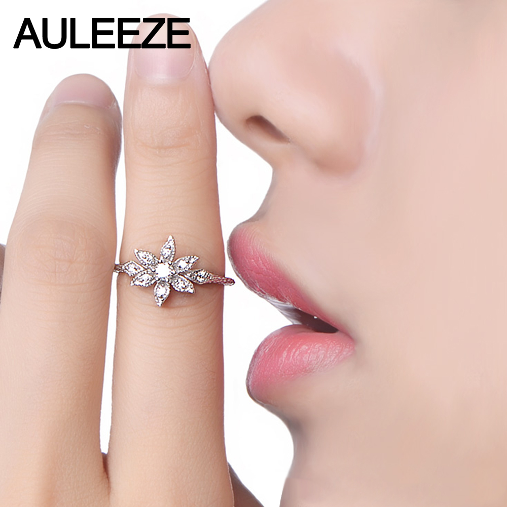 Aliexpress.com : Buy Unique Floral Design Real Diamond Ring Natural ...