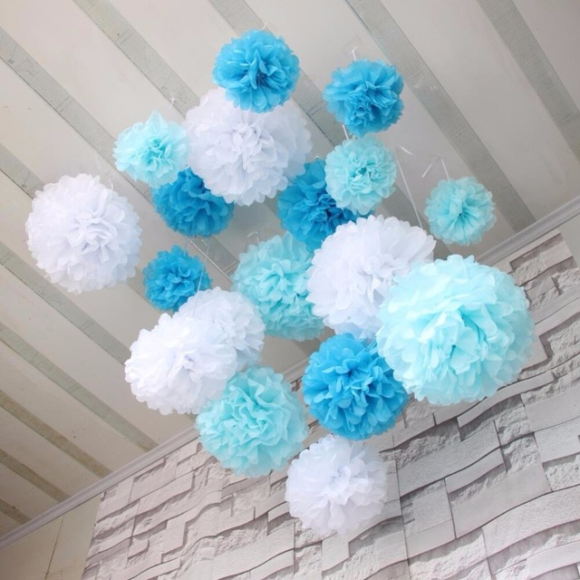diy blues whtie tissue paper pom poms for new baby shower and boy