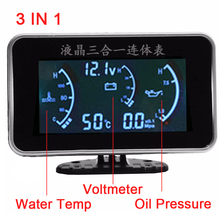 3 Function 12v/24v Truck Car Oil Pressure Sensor Oil Pressure Gauge + Voltmeter Voltage Gauge + Water Temperature Gauge Meter needle gauge gauge pressure gauge set of 3
