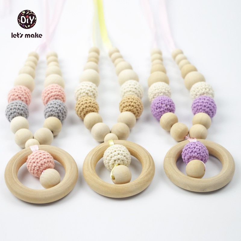 Lets Make Baby Teething Nursing Necklace 5PCS Wooden Crochet Pendant Eco-Fiendly Breast feeding Baby Necklace