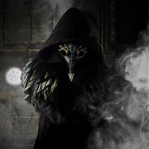 Image 5 - Steampunk Plague Doctors Mask PU Leather Long Nose Mask Cosplay Black Beak Mask Costume Props