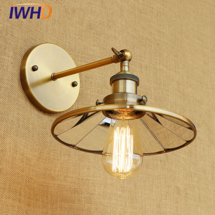 IWHD Retro Loft LED Wall Lamp RH Vintage Industrial Wall Light Lens Lampshade Fixtures Home Lighting Applique Murale Luminaire iwhd loft vintage led wall lamp glass lampshade retro industrial wall lights bedside light fixtures for home lighting luminaire