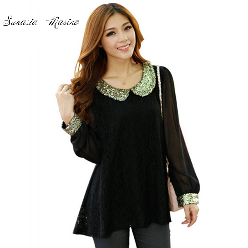 ef98bf7f5048 2016 spring Summer Lace women brand Sparkle shirts Plus Size Clothing peter  pan collar fashion Clothes For Women shirts