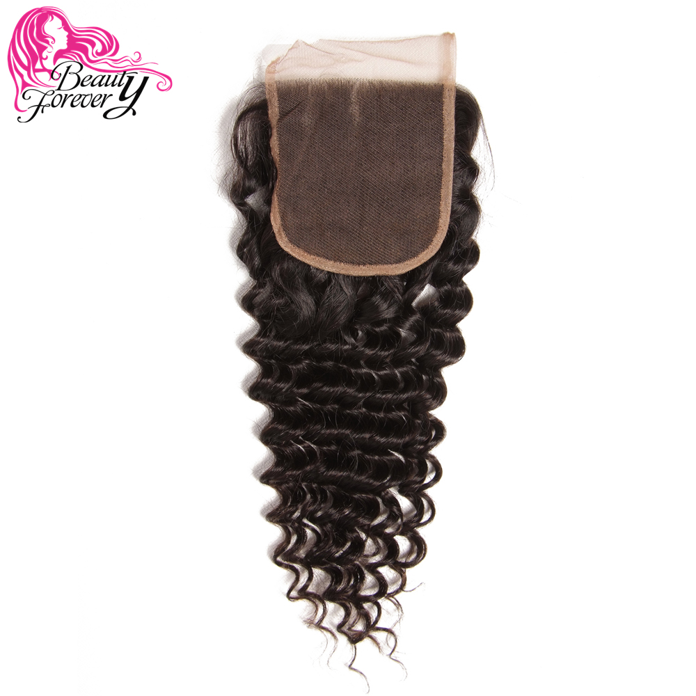 Beauty Forever Brazilian Deep Wave Lace Closure Hair Free Part 4 4 100 Remy Hair Extensions