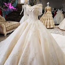 AIJINGYU 여왕 웨딩 드레스 공주 볼 드레스 가운 진주 긴 소매 이슬람 새로운 가운 신부 샤워