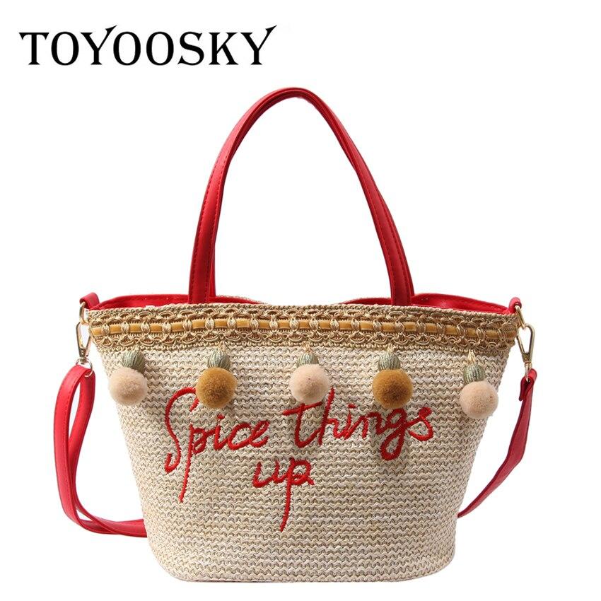 Di 2018 red Delle Boemia Paglia Della Toyoosky Woven Progettista Spiaggia Spalla Travling Borse Bags Sacchetto Femminile Del Tote Black Estate Donne Ricamo A xgYPYwtB
